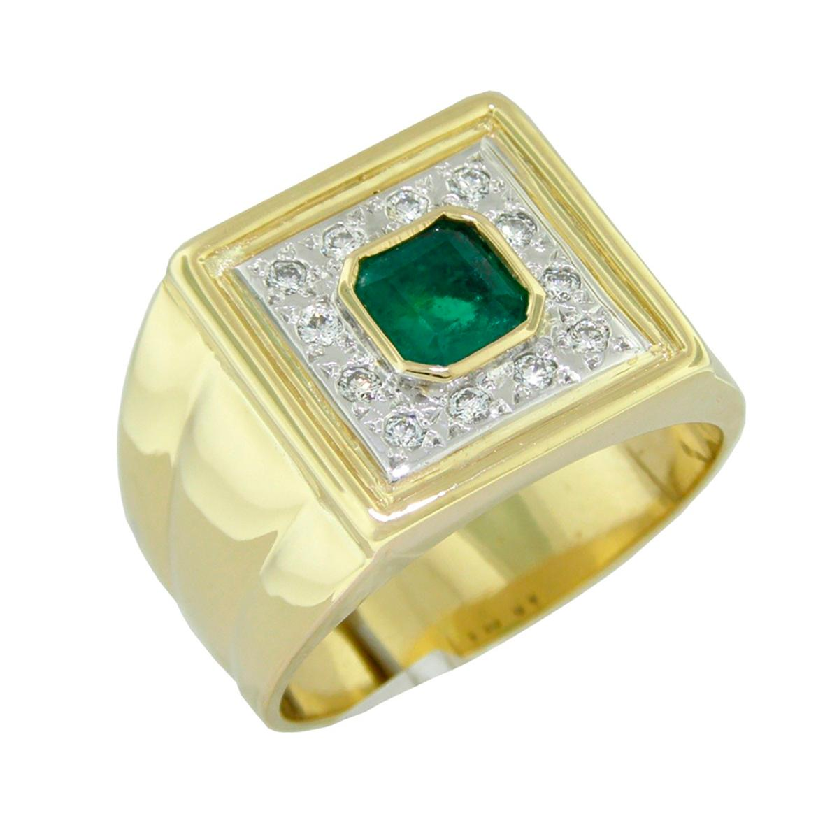 2-tones-emerald-and-diamond-mens-ring-in-18k-gold