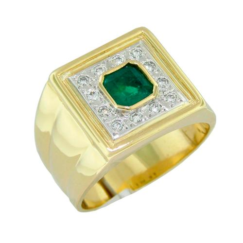 2 Tones Emerald and Diamond Men's Ring in 18K Gold