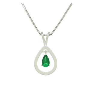 18K White Gold Solitaire Emerald Pendant with Pear Shape Natural Emerald