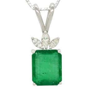 Emerald and Diamond Pendant in 18K White Gold With Emerald Cut Emerald and Marquise Shape Diamonds
