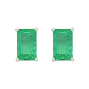 Rectangular Stud Earrings with Emerald Cut Emeralds in 18K White Gold
