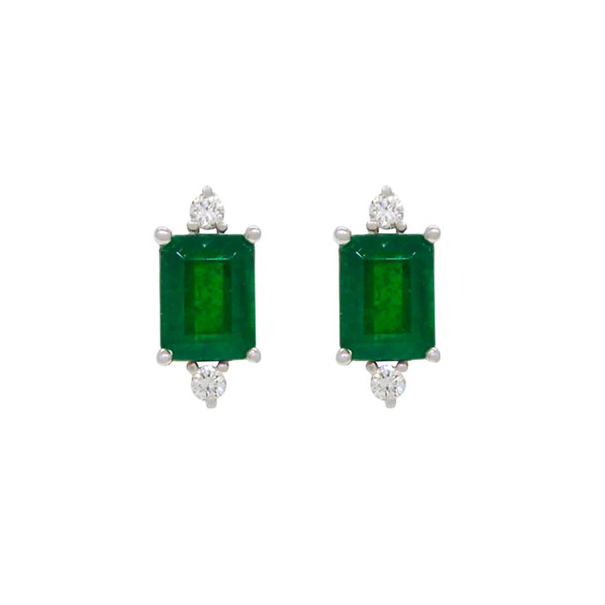 emerald-cut-natural-emeralds-set-in-18k-white-gold-stud-earrings-with-round-diamonds