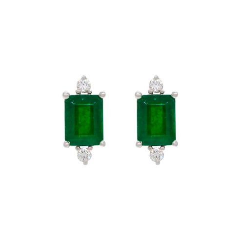 Emerald Cut Natural Emeralds Set in 18K White Gold Stud Earrings With Round Diamonds