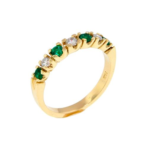Half Eternity 7 Stone Diamond And Emerald Wedding Band Ring in 18K Gold