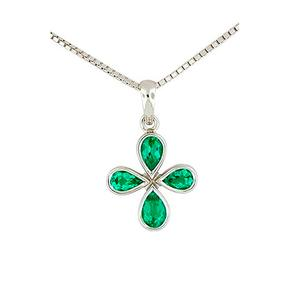 Pear Shape Natural Emeralds in 18K White Gold Bezel Setting Emerald Pendant
