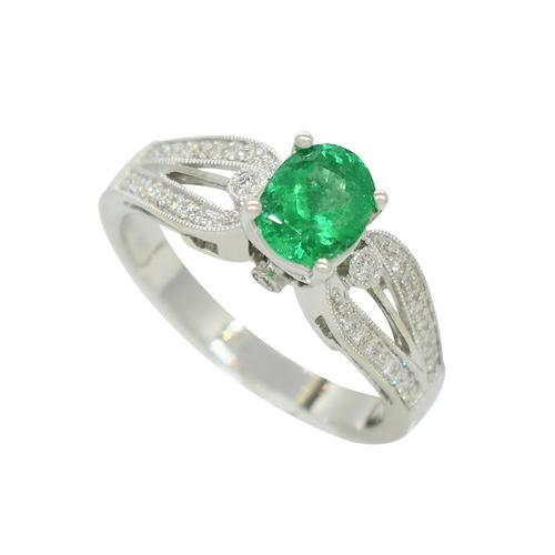 Emerald Ring in White Gold With Diamond Accents in Micro Pave