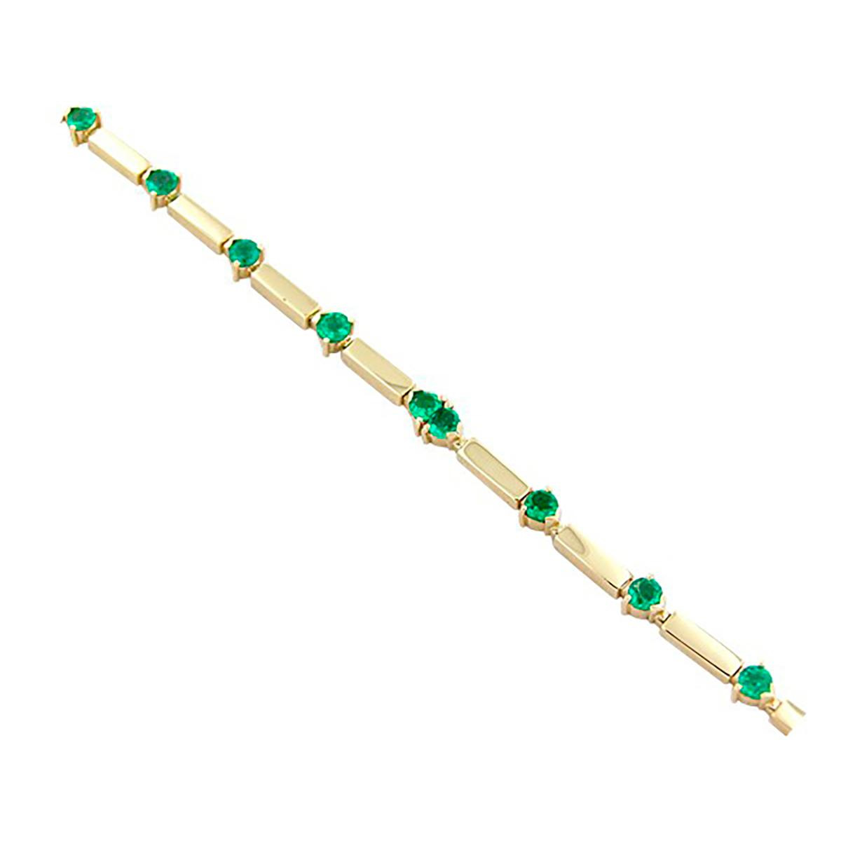 emerald-bracelet-with-long-links-in-18k-gold-with-12-round-cut-natural-emeralds