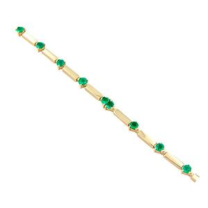 Emerald Bracelet With Long Links in 18K Gold with 12 Round Cut Natural Emeralds