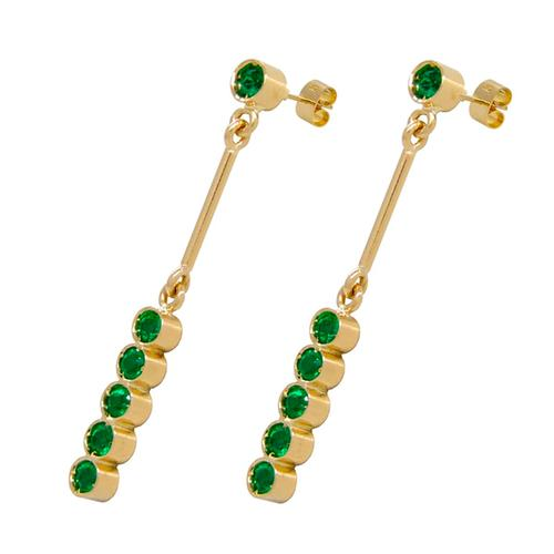 18K Yellow Gold Drop Earrings with Round Cut Emeralds in Bezel Setting