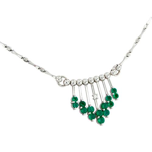 Emerald and Diamond Necklace in 18K White Gold with Round Emeralds and Diamonds