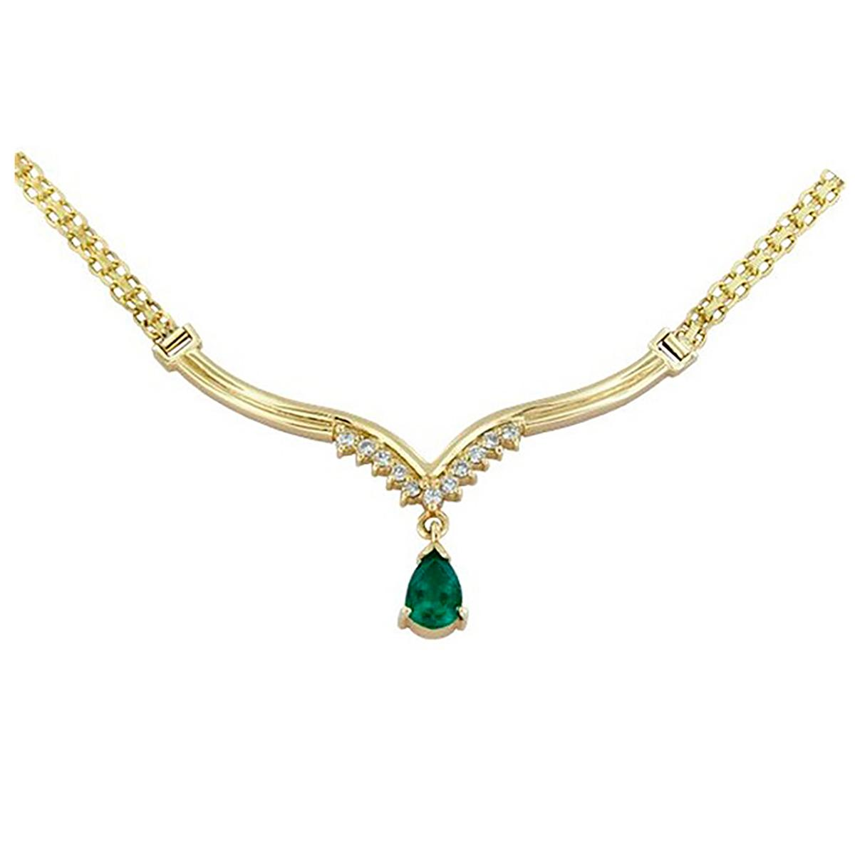 18k-yellow-gold-emerald-and-diamond-necklace-antique-style