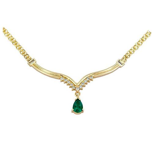 18K Yellow Gold Emerald and Diamond Necklace Antique Style