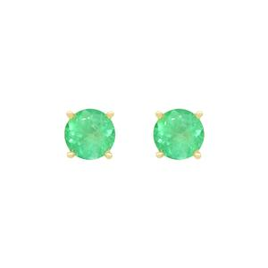 Stud Emerald Earrings in 18K Yellow Gold With Round Cut Natural Emeralds