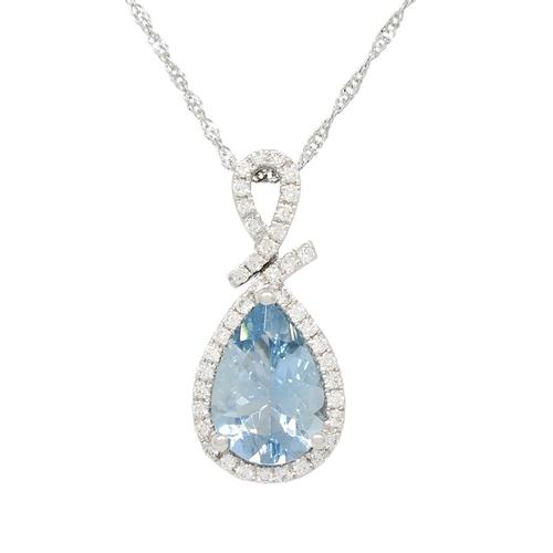 Teardrop Aquamarine Necklace in White Gold With Diamond Halo in Fine Micro Pave