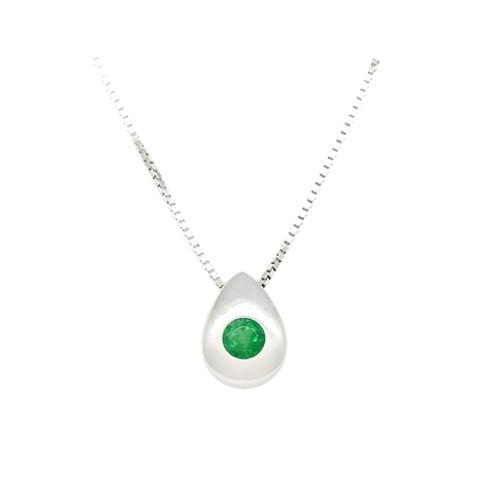 Emerald Necklace in 18K White Gold with Genuine Round Cut Emerald