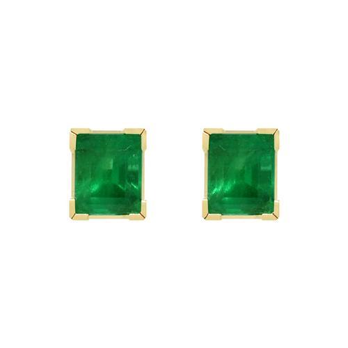 Stud Emerald Earrings in Classic 18K Yellow Gold Square Shape Stud Earrings