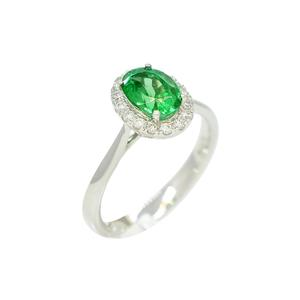 18K White Gold Cluster Emerald Ring in Diamond Halo With Stunning Oval Shape Emerald
