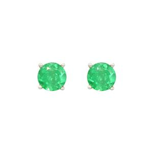 Emerald Stud Earrings in 18K White Gold Classic Prong Setting