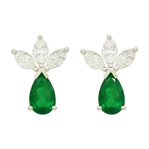 Emerald and Diamond Earrings in 18K White Gold With Pear Emeralds and Marquise Diamonds