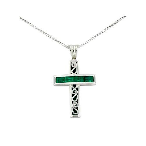 Reversible Cross Emerald Pendant in 18K White Gold with Baguette and Round Emeralds