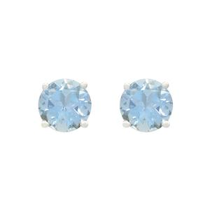 Classic Stud Earrings with Round Aquamarines in 18K White Gold