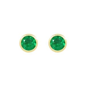 18K Yellow gold Emerald Stud Earrings in Bezel Setting