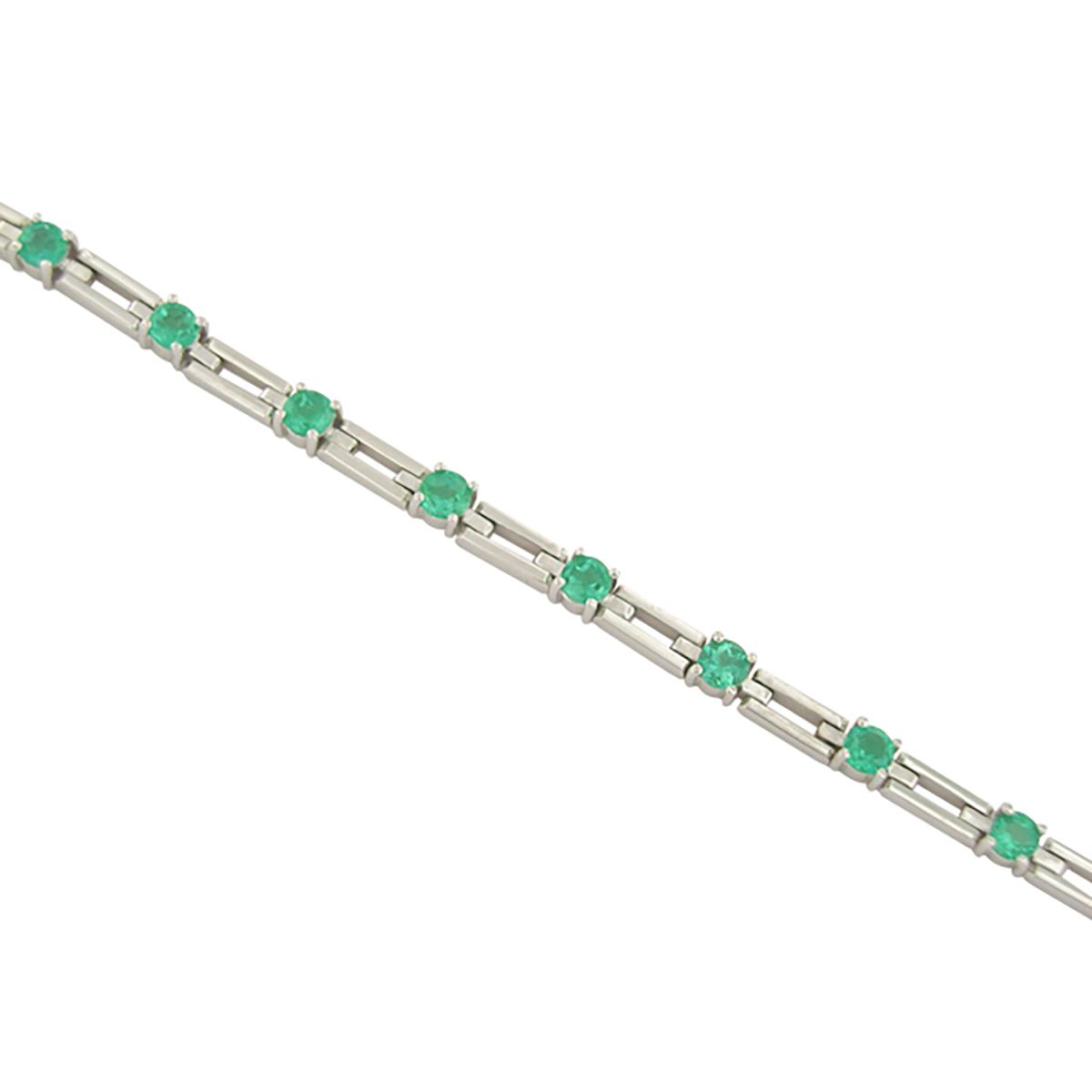 18k-white-gold-emerald-bracelet-with-13-round-cut-natural-colombian-emeralds