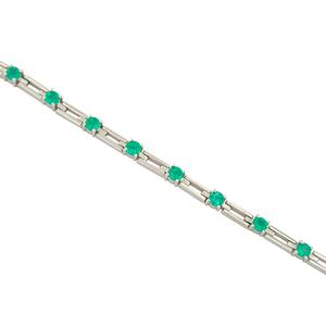 18K White Gold Emerald Bracelet with 13 Round Cut Natural Colombian Emeralds