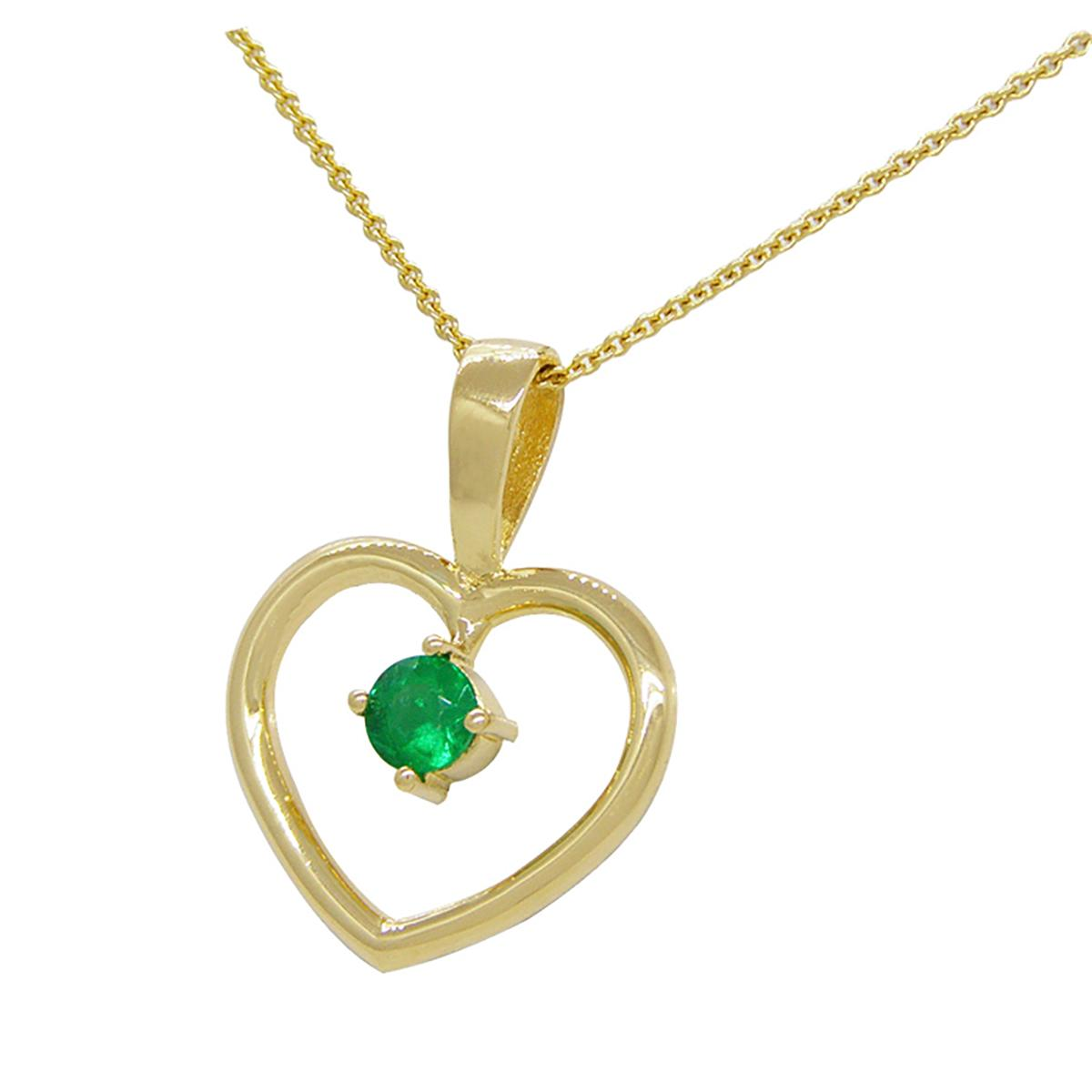 18k-yellow-gold-heart-shape-emerald-pendant-with-0.22-ct.-round-cut-emerald