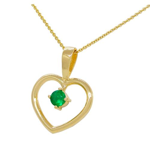 18K Yellow Gold Heart Shape Emerald Pendant with 0.22 Ct. Round Cut Emerald