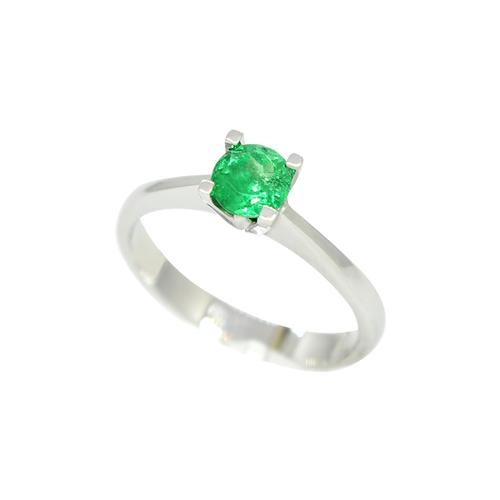 Solitaire Emerald Ring in 18K White Gold With Round Cut Natural Emerald