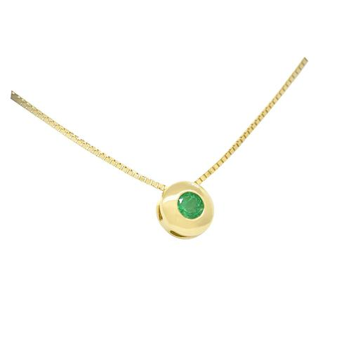 Solitaire Emerald Necklace in 18K Gold Bezel Set with Round Emerald