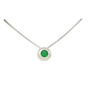 Solitaire Emerald Necklace in 18K White Gold with Round Emerald