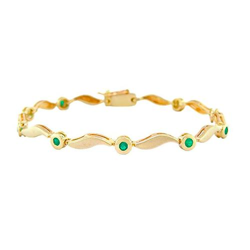 Dainty Emerald Bracelet in 18K Yellow Gold With Round Emeralds in Bezel Setting