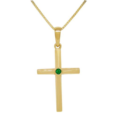Cross Emerald Pendant in 18K Gold with Round Cut Emerald