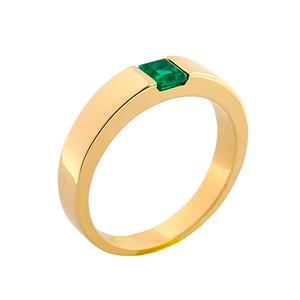 Solitaire Wedding Band With Square Natural Emerald in 18K Gold