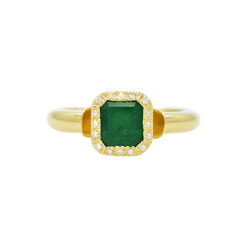 Emerald Cut Emerald in 18K Yellow Gold Ring With Diamond Halo in Bezel Setting