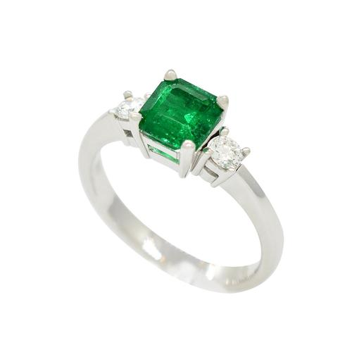 Emerald Ring with Round Diamonds in 18K White Gold 3 Stones Ring Style