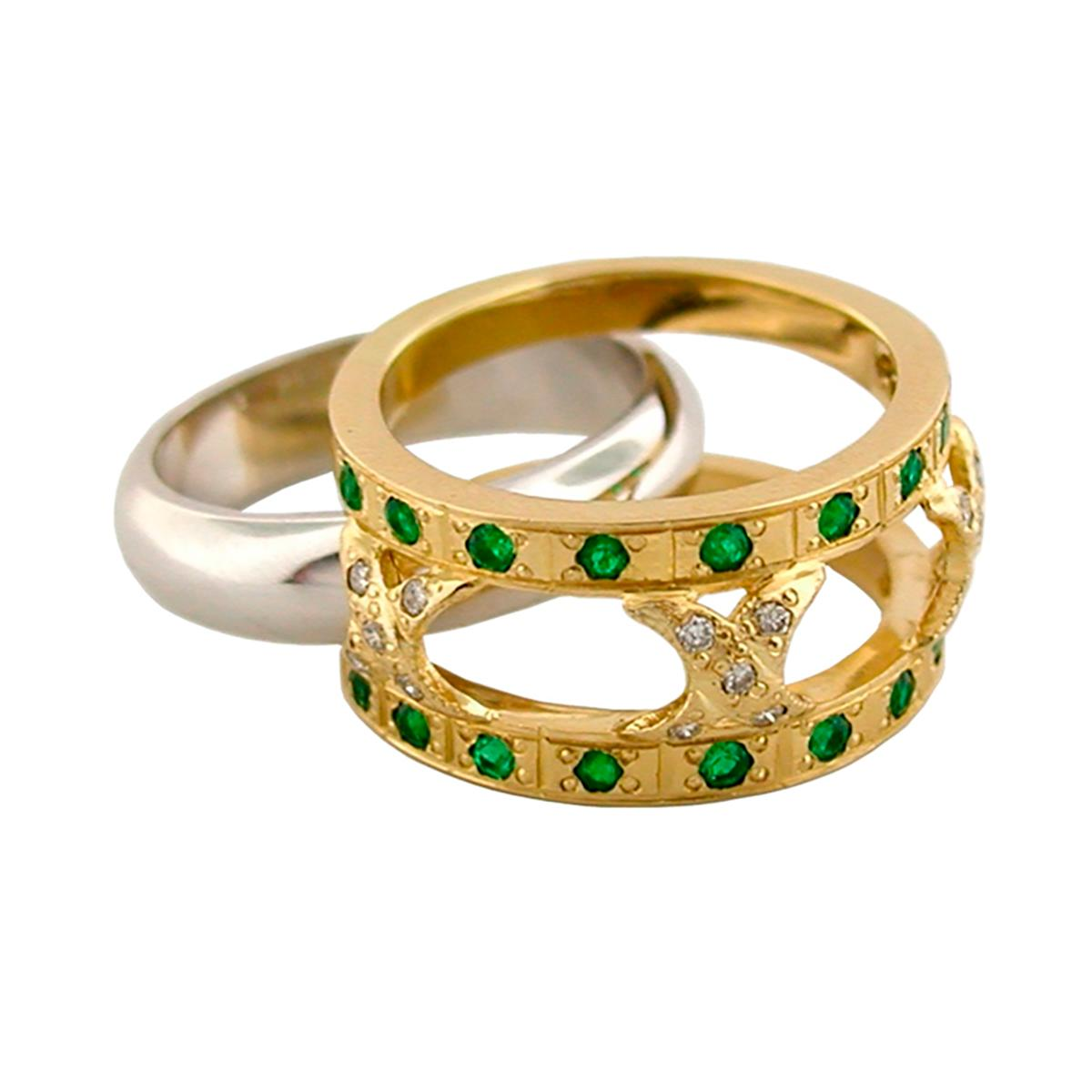 2-tones-emerald-and-diamond-band-ring-in-18k-gold