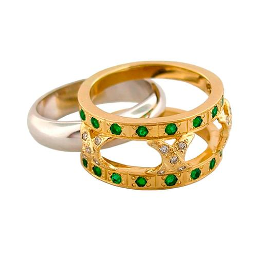 2 Tones Emerald and Diamond Band Ring in 18K Gold