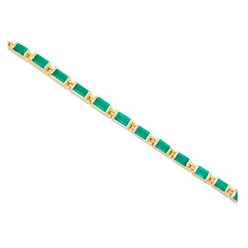 Tennis Bracelet in 18K Yellow Gold With 23 Baguette Cut Natural Emeralds