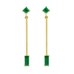 Thin Emerald Drop Dangle Earrings in 18K Yellow Gold
