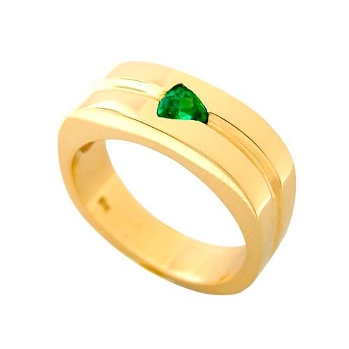 18K Yellow Gold Band With Triangle Cut Emerald
