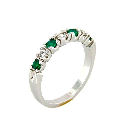 Half Eternity 7 Stone Emerald And Diamond Wedding Band Ring in 18K White Gold