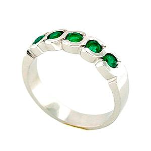 Emerald Band Ring with Round Cut Emeralds Set in 18K White Gold Bezel Setting