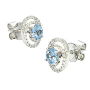 Aquamarine and Diamond Stud Earrings in 18K White Gold in Fine Pave Setting