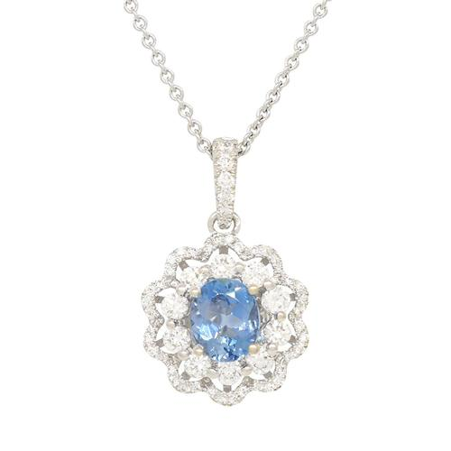 18K White Gold Aquamarine and Diamond Pendant Necklace with Stunning Blue Color