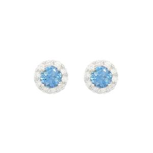Dainty Stud Earrings With Aquamarine and Diamond Halo in 18K White Gold