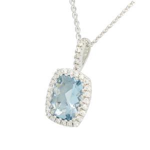 Aquamarine and Diamond Necklace with Stunning Cushion Cut Aquamarine and Diamond Halo