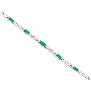 Baguette Cut Natural Emeralds in Solid 18K White Gold Bracelet